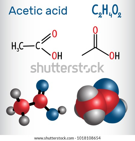Acetic Acid Ethanoic Molecule Structural Chemical Stock Vector