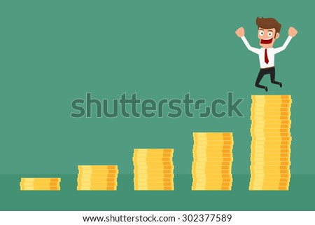 Achievement business man is happy on money stack graph. Cartoon Vector Illustration. - stock vector