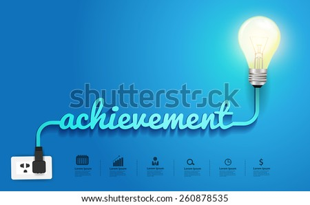 Achievement concept, Creative light bulb idea abstract infographic layout, diagram, step up options, Vector illustration modern design template - stock vector
