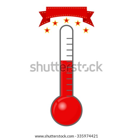 Achievement thermometer with stars and banner - vector illustration - stock vector