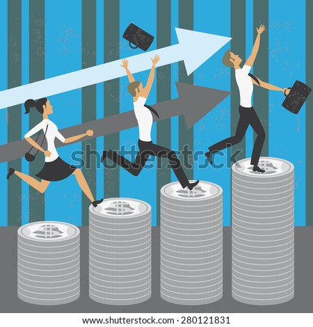Achieving economic success Illustration of two businessmen and one businesswoman achieving the success jumping over money bars. The grunge texture is removable from the background. - stock vector