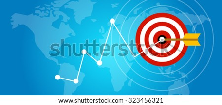 achieving target strategy improvement concept growth market arrow goals - stock vector