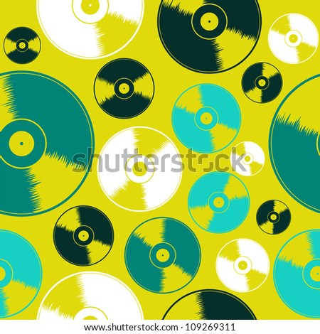 Acid colors vinyl records seamless pattern background. Vector illustration layered for easy manipulation and custom coloring. - stock vector