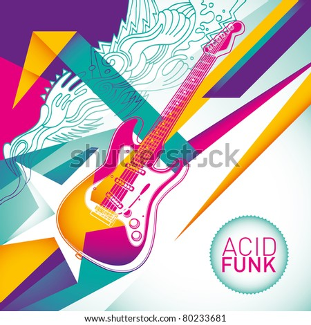 Acid funk background in color. - stock vector