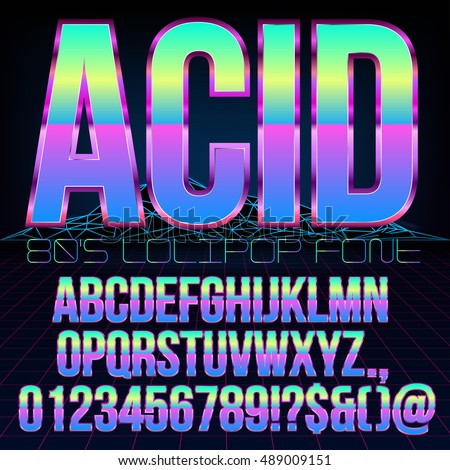 Acid Lollipop style Retro futurism 80's sci-fi metallic chrome violet colored bright style action movie vector font set.