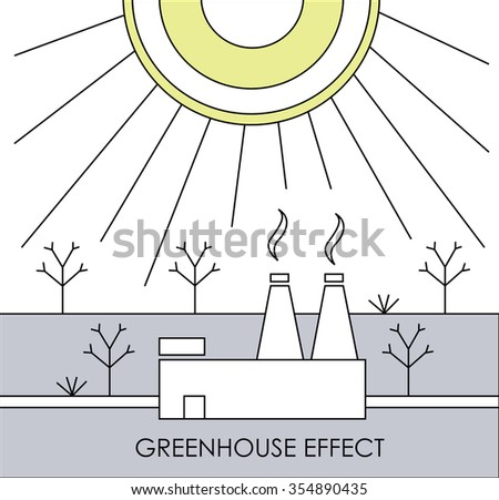 acid rain, world ecological problem. illustration of factory, rain, trees and chemical cloud  - stock vector