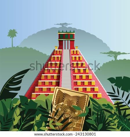 Acient Mayan pyramid - stock vector