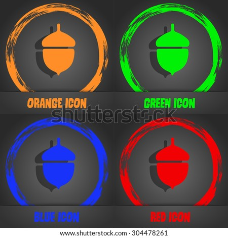 Acorn icon symbol. Fashionable modern style. In the orange, green, blue, green design. Vector illustration - stock vector