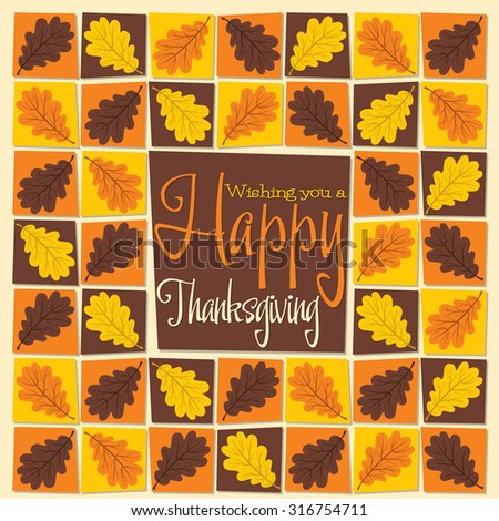 Acorn leaf mosaic Thanksgiving card in vector format. - stock vector