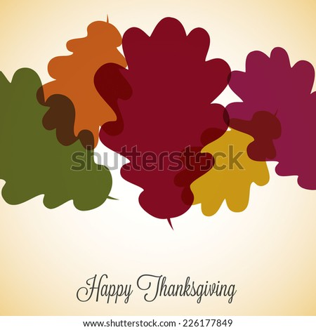 Acorn leaf Thanksgiving card in vector format. - stock vector