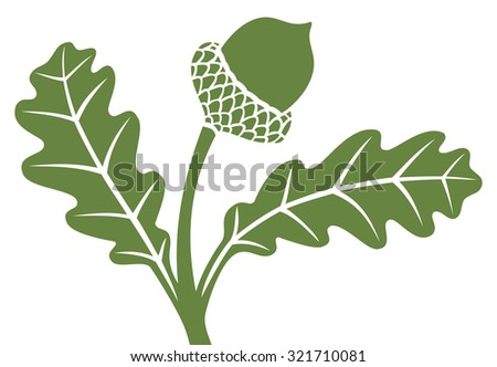 acorn with leaf - stock vector
