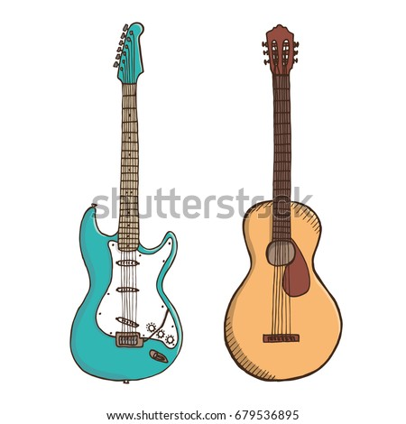 Acoustic and electric guitars. Colored hand drawn vector illustration.