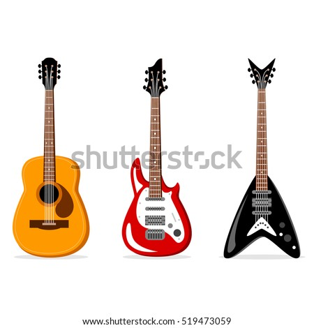 acoustic and electric guitars set. Vector illustration