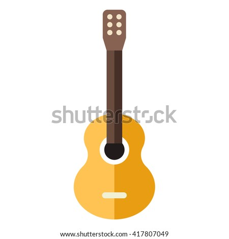 Acoustic classic guitar. Flat style vector illustration isolated on white background - stock vector