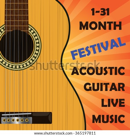 Acoustic classical guitar. Template for poster, announcement, leaflet, flyer. Vector image. - stock vector