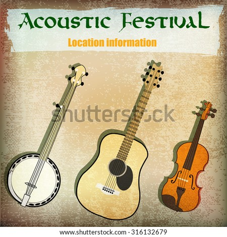 Acoustic festival flyer for a folk music event