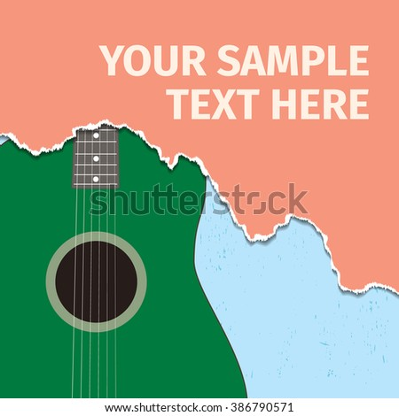 Acoustic guitar and torn paper - stock vector