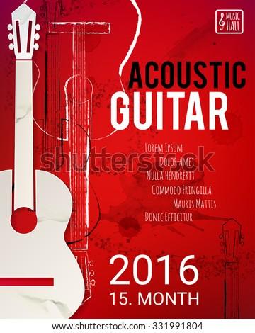 acoustic guitar event design for flyer poster invitation vector illustration