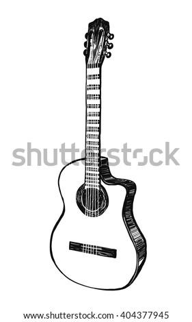 Acoustic guitar. Hand drawn vector illustration - stock vector