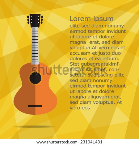acoustic guitar icon on yellow background ,  Flat design.Vector EPS 10 - stock vector