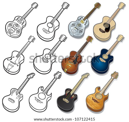 Acoustic Guitar Icons Selection of musical vector icon illustrations on an Acoustic Guitar theme. Easy to edit layers included. - stock vector