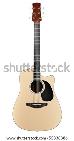 Acoustic Guitar Isolated on White Background. Vector. - stock vector