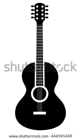 Acoustic guitar music instrument icon in white and black colors, vector illustration. - stock vector