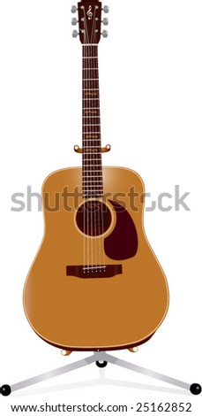 acoustic guitar on a stand