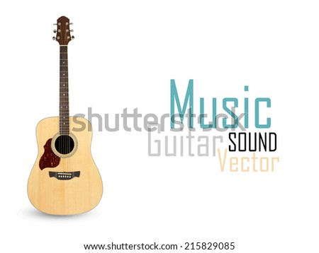 acoustic guitar on a white background - vector - stock vector