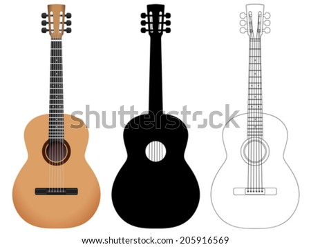 Acoustic guitar on a white background. Vector illustration. - stock vector