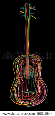 Acoustic guitar over black background - stock vector