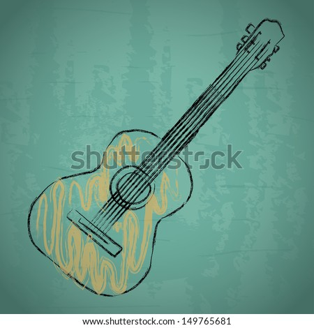 acoustic guitar over blue background vector illustration - stock vector