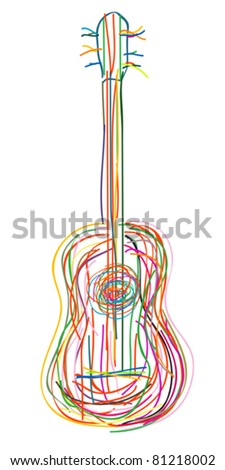 Acoustic guitar over white background - stock vector