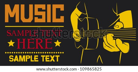 acoustic guitar playing - vector background (man plays a guitar, playing acoustic guitar, musical poster design, music design) - stock vector