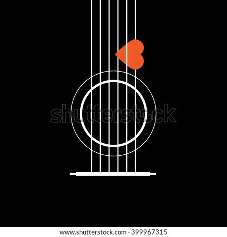 Acoustic Guitar with Heart, Love Music Concept, Vector Illustrator eps10 - stock vector