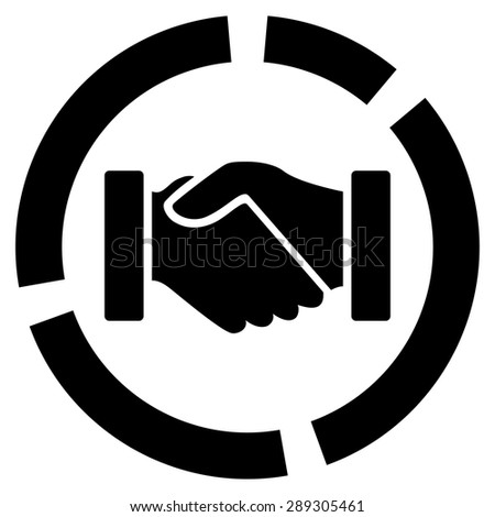 Acquisition diagram icon from Business Bicolor Set. Vector style: flat symbol, black color, rounded angles, white background. - stock vector