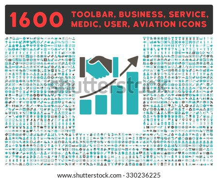 Acquisition Growth vector icon and 1600 other business, service tools, medical care, software toolbar, web interface pictograms. Style is bicolor flat symbols, grey and cyan colors, rounded angles - stock vector
