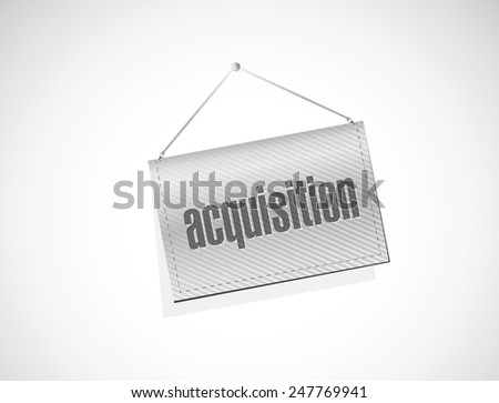 acquisition hanging banner illustration design over a white background - stock vector