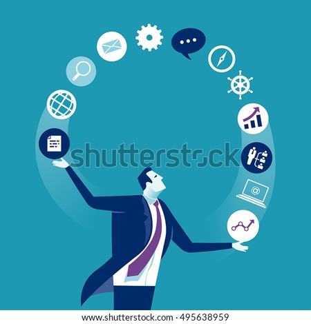 Acrobat. Businessman juggling business icons. Concept business vector illustration