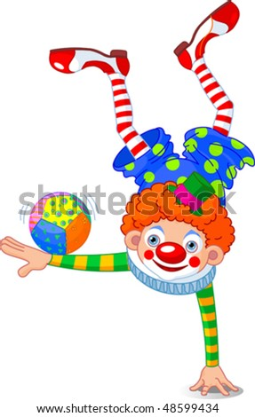 Acrobat Clown Standing On One Hand