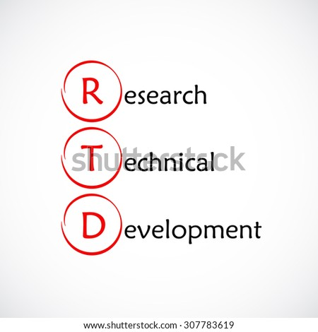 Acronym RTD as Research Technical Development - stock vector