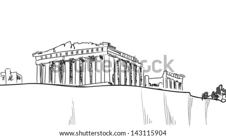 Acropolis Hill In Athens Hand Drawn Landmark