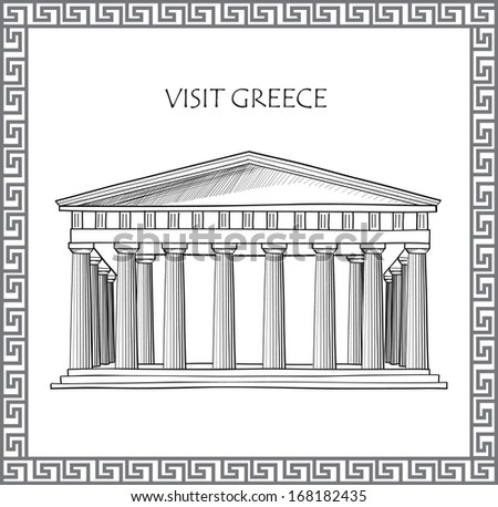 Acropolis in Athens, Greece. Visit Greece card. Ornamental traditional greek vector frame.  - stock vector