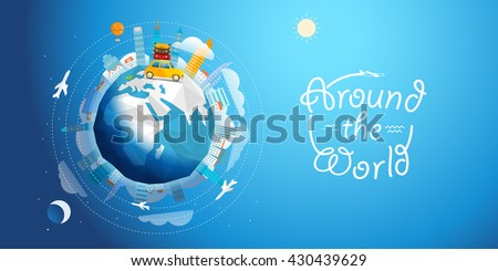 Across the world tour by car. Travel concept vector illustration - stock vector