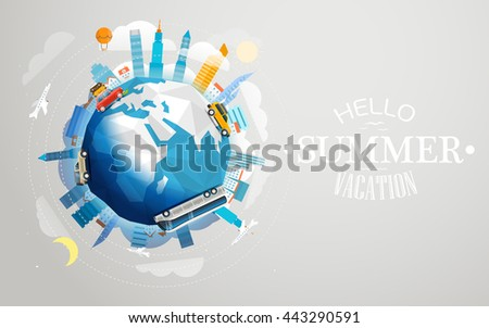 Across the world tour by different vehicle. Travel concept vector illustration. Hello summer vacation - stock vector