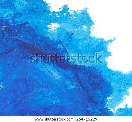Acrylic and oil blue wave sea hand drawn isolated stain on white background. Abstract wet brush panted vector illustration. Water art design card for decor, scrapbook, banner, wallpaper, print, poster - stock vector