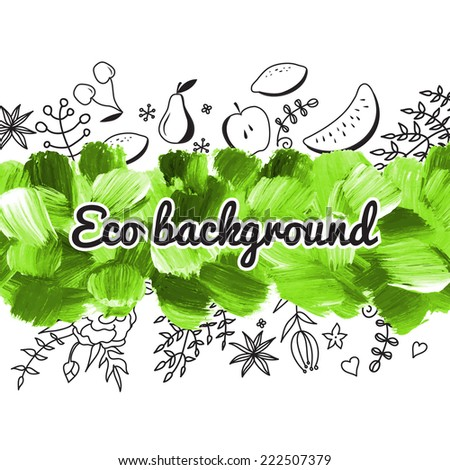 Acrylic Eco background. Ecology. Vector. Banner. Green vector background. Can be used for wallpaper, background, pack, web page. Brushstroke, stain, paints blot.