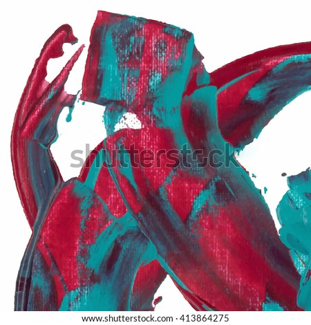 Acrylic Paint Decoration Vector. Paint Decoration Template. Canvas Paint Decoration Art. Paint Decoration Design. Paint Decoration Wallpaper. Paint Background Blue turquoise and red violet pink  - stock vector