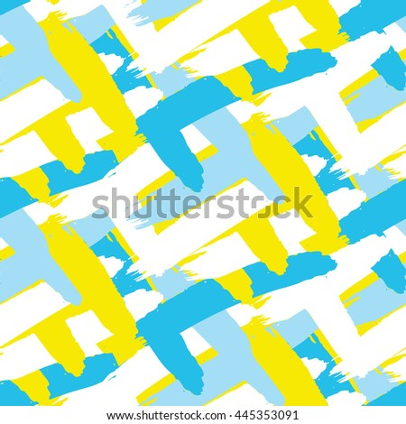 Acrylic paint strokes seamless vector pattern. Blue, white and yellow brush paint smears bold background.