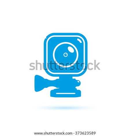 Action camera. illustration blue color. Icons, button. Vector image isolated on white background